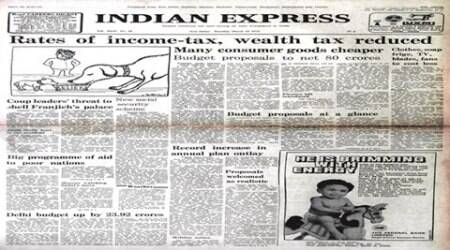 forty years ago, march 16 1976, 1976 indian express newspaper, indian express forty years ago, c. subramaniam, emergency period, budget 1976, indian express