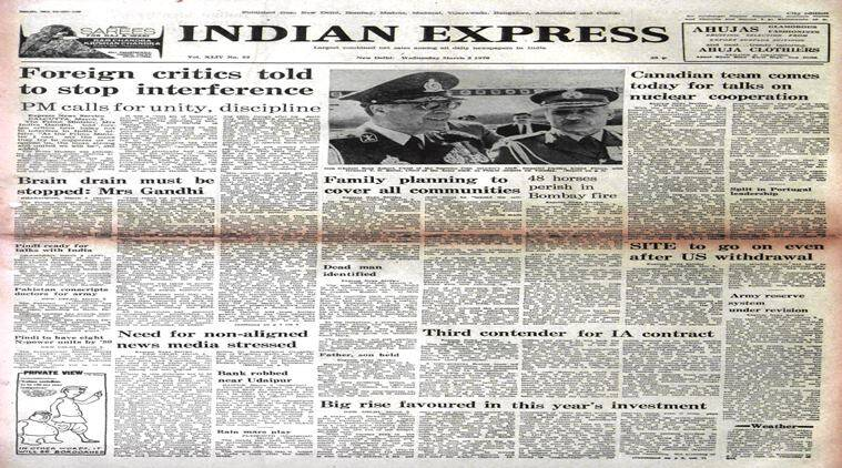 indian express forty years ago, March 3, 1976, Forty Years Ago, indira gandhi, indian express newspaper, indian express paper forty years ago, indian express