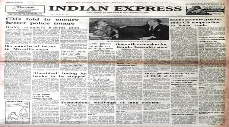 The Indian Express front page on March 5, 1976