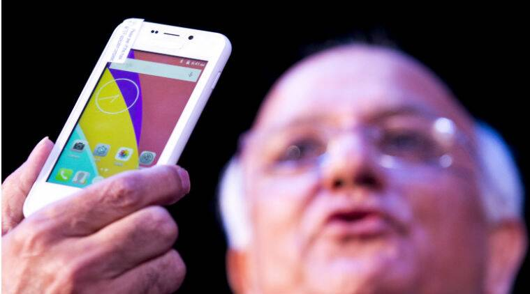 A file picture of Freedom 251 during its February 17 launch in New Delhi (Source: Shruti Dhapola)