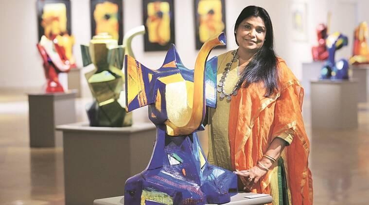 Sujata Bajaj with her Art work on Ganesha in New Delhi. EXPRESS PHOTO BY PRAVEEN KHANNA 04 03 2016.