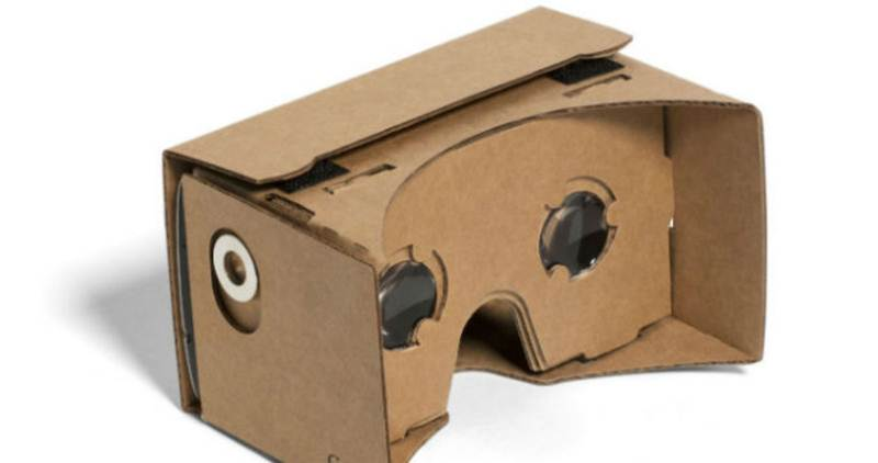 Google Cardboard is essentially a piece of cardboard folded into a box that's slightly shorter than a brick (Source: Google)