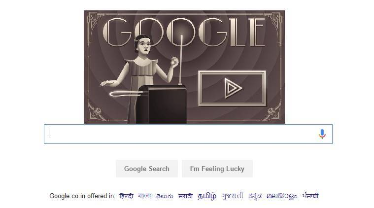 google doodle, Clara Rockmore, theremin virtuoso performer, synthesizer, interactive google doodles