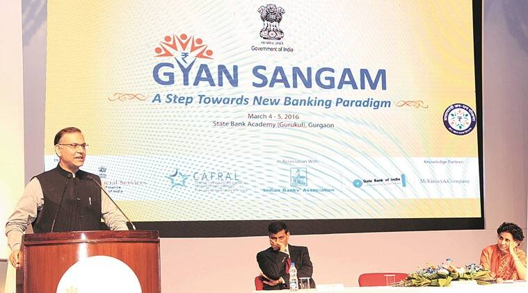 (Left to right) Minister of State for Finance Jayant Sinha, RBI Governor Raghuram Rajan and Financial Services Secretary Anjuly Chib Duggal during a media interaction at Gyan Sangam seminar in Gurgaon on Friday.  PIB photo