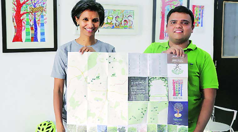 Chhaya Bhanti of Vertiver and Swapan Mehra of Iora Ecological Solutions, leaders of the two organisations behind the map. Express