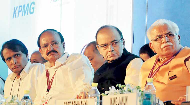 Union Ministers Suresh Prabhu, Venkaiah Naidu and Arun Jaitley with Haryana CM Manohar Lal in Gurgaon. (Express Photo: Manoj Kumar)