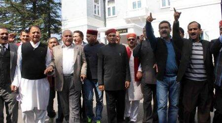 Former chief minister and leader of opposition Prem Kumar Dhumal with other BJP MLAs walkout the Vidhan Sabha budget session in Shimla on Monday. Express photo by Lalit Kumar. 28.03.2016.