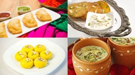 Happy holi, Holi recipes, recipes for Holi, Holi sweets, gujiya, pedakiya, cheese gujiya, mathri, thandai, mocktails, malpua, moong dal kachori, kesari malai peda, kanji vada