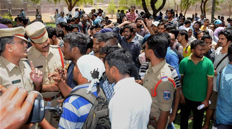 hyderabad university, hyderabad central university, KCR, police action hcu, police brutality hcu, telangana assembly, rohith vemula, rohith vemula suicide, hcu vc appa rao, hcu news, india news, education news, latest news