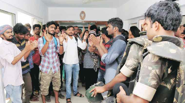 Students protest inside the V-C's office on Tuesday. (Source: PTI)