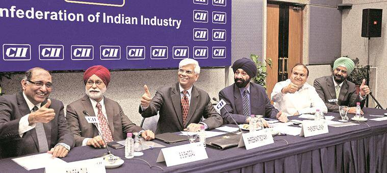 Industrialists discussing on budget at CII in sector 31 of Chandigarh on Monday, february 29 2016. Express photo by Jasbir Malhi