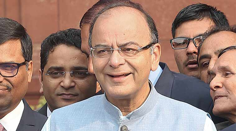 Jaitley before presenting the Budget, Monday. (Express Photo: Amit Mehra)