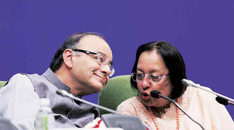 Arun Jaitley with Minister for Minority Affairs Najma Heptulla at the 8th annual NCM lecture on 'Economic Empowerment of Minorities', in New Delhi on Wednesday. (Express Photo: Prem Nath Pandey)