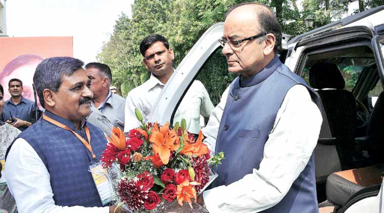 Union Finance Minister Arun Jaitley with Delhi BJP chief Satish Upadhyay Saturday. (Source: PTI )