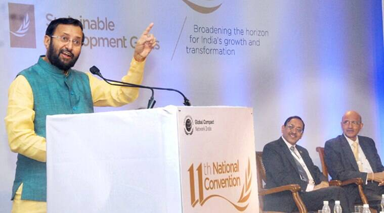 "The Minister of State for Environment, Forest and Climate Change (Independent Charge), Shri Prakash Javadekar delivering the inaugural address at the ""11th National Convention of GLOBAL COMPACT NETWORK"", in Mumbai on March 12, 2016."