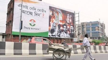 assam elections 2016, assam poll, assam congress, kanhaiya hoardings, kanhaiya and rohith hoardings in assam, JNU, dalit suicide case, rohith vemula, kanhaiya kumar, congress hoardings in guwahati, indian express
