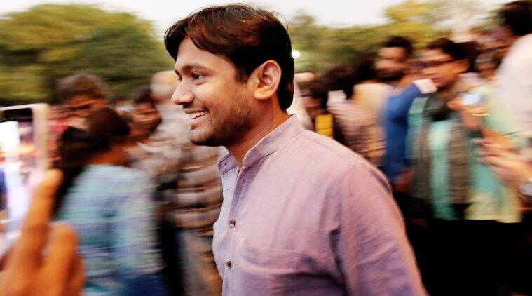JNUSU president Kanhaiya Kumar during the movement for the release of our comrades continues at JNU in Delhi on March 6th 2016. Express photo by Ravi Kanojia.