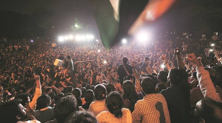 JNUSU President Kanhaiya Kumar adddressing a gathering at the campus on Thursday night. Express photo by Oinam Anand. 03 March 2016