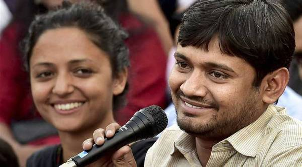 NUSU President Kanhaiya Kumar with the union Vice President Shehla Rashid addresses a news conference at the JNU campus in New Delhi on Friday. (PTI Photo)