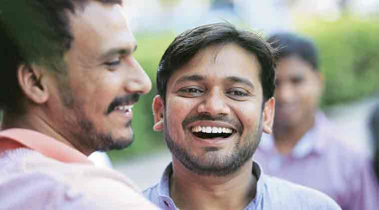 Kanhaiya Kumar at JNU Tuesday.  (Express Photo: Praveen Khanna)