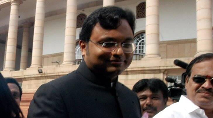 Karti Chidambaram at the Parliament House in New Delhi (Express file photo)