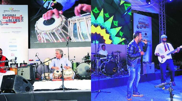Guitarist Ravi Iyer, tabla maestro Ustad Fazal Qureshi and sitarist pandit Ravi Chary (left) and Mihir Joshi Band perform on the first day of Kasauli Rhythm & Blues Festival on Friday. Express photo