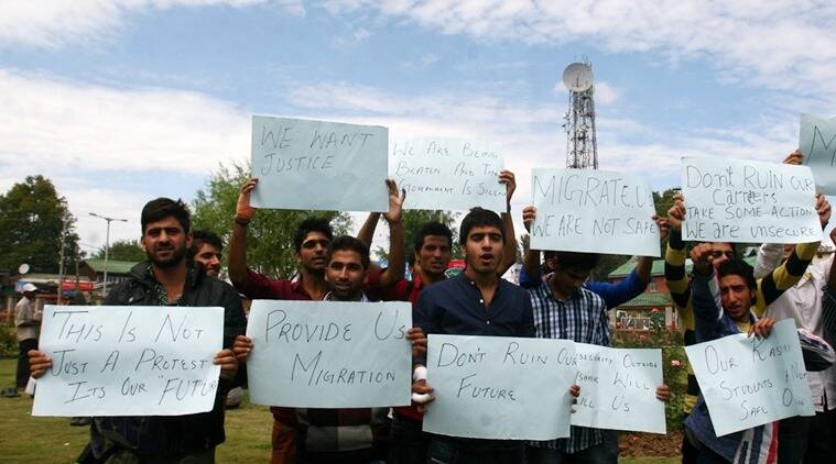 Loud and clear: Kashmiri students protest against the administration of the Swami Vivekanand Subharti University, Meerut. (Express photo by Shuaib Masoodi)