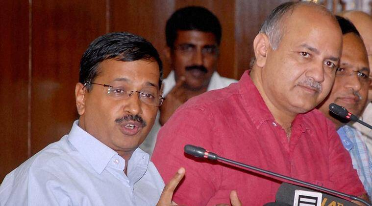 New Delhi: Delhi Chief Minister Arvind Kejriwal with Dy CM and Finance Minister Manish Sisodia addressing a press conference after presentation of the budget in the Assembly, in New Delhi on Monday. PTI Photo
