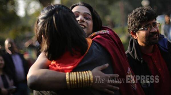 LGBT rights activist hug each other after Supreme Court referred the section 377 curative petition to a five judge Constitution Bench for further examination on Tuesday. Express photo by Oinam Anand. 02 February 2016