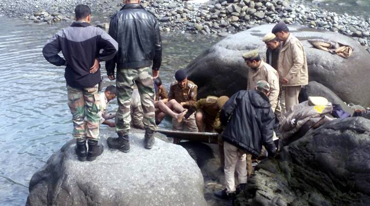 Police search of bodies of Indian Air Force (IAF) personnel at Ravi river near Chamba on Sunday. Express photo.