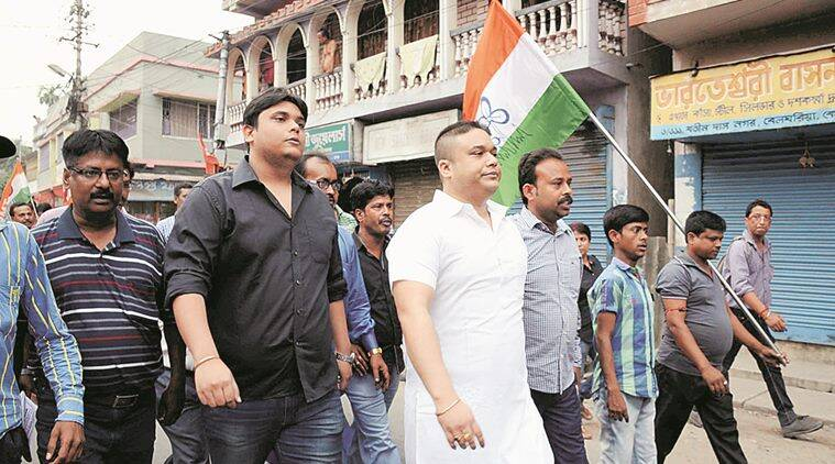 Two Son of Madan Mitra (from left 2nd and third) during election campaign of Madan Mira at Kamahati. Express photo.