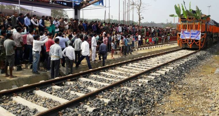 People gathered to see the first broad gauge train at Bairabi. Photo - CPRO/NF Railway