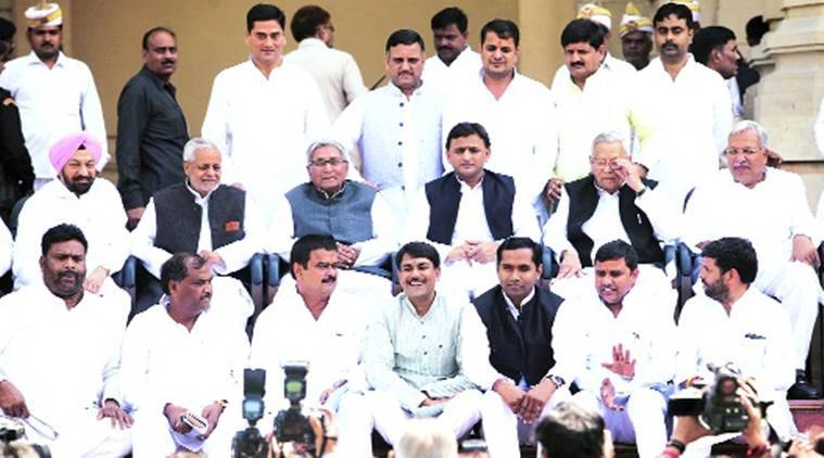 Newly elected Members of Legislative Council from Samajwadi Party pose for a photograph with Chief Minister Akhilesh Yadav, in Lucknow on Wednesday. Vishal Srivastav