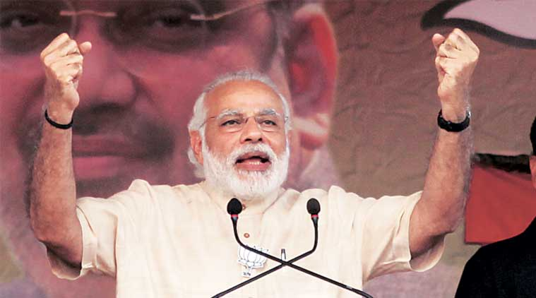 Prime Minister Narendra Modi at the election rally in Kharagpur on Sunday. (Express Photo: Subham Dutta)