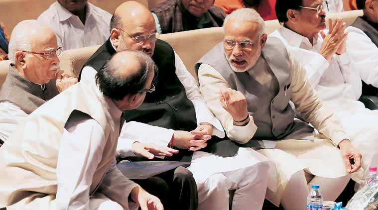 Prime Minister Narendra Modi, BJP chief Amit Shah, senior party leader L K Advani and Finance Minister Arun Jaitley at an NDA meeting in New Delhi, Tuesday. (Express Photo: Anil Sharma)