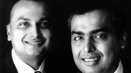 Industrialist Anil Ambani with his brother Mukesh Ambani. Express archive photo