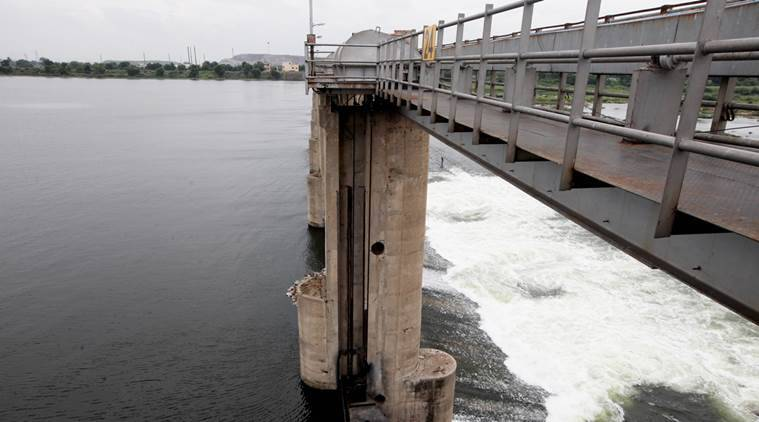 Water from Narmada dam flows into Sabarmati river after four gates of Vasna barrage are opened due to rise in water level, in Ahmedabad on Wednesday. Express Photo by Javed Raja. 03.09.2014.