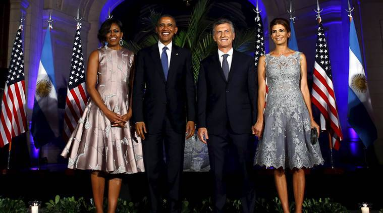 U.S. President Barack Obama (2nd L), Argentine President Mauricio Macri, U.S. first lady Michelle Obama (L) and Argentina's first lady Juliana Awada pose for a photo before a state dinner in Buenos Aires, March 23, 2016. REUTERS/Enrique Marcarian