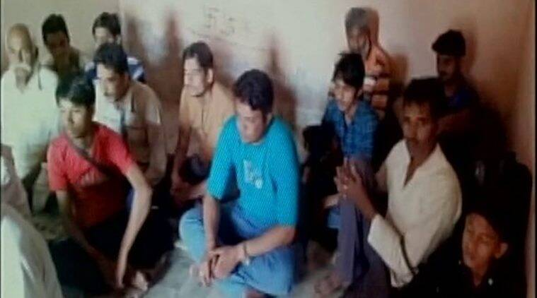 Pakistani nationals who were held at Ramdevra in Jaisalmer, Rajasthan on Saturday. Photo-ANI