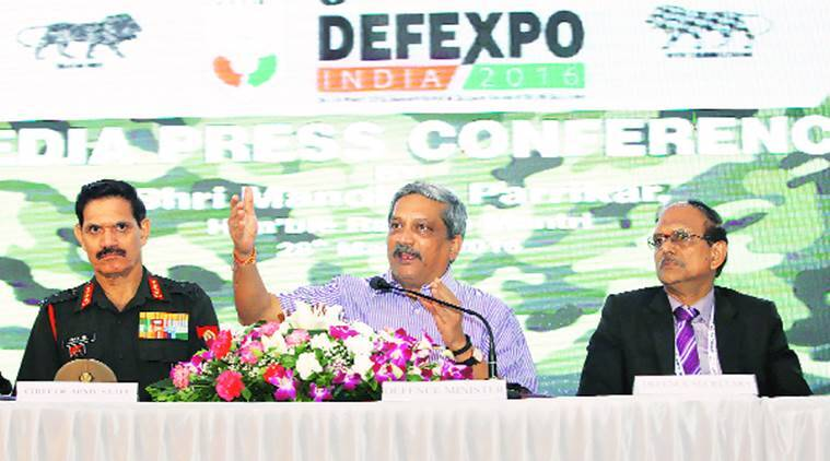 Defence Minister Manohar Parrikar at the DefExpo in Quepem, Goa