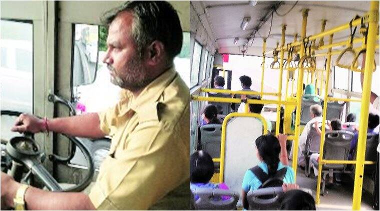 A driver steers the bus from Chinchwad to PMC HQ Sunday. Manoj More