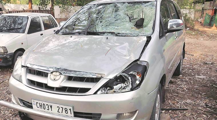 Damaged car allegedly involved in racing after accident at sector 4-5 dividing parked in sector 03 Police Station Chandigarh on Wednesday, March 09 2016. Express Photo