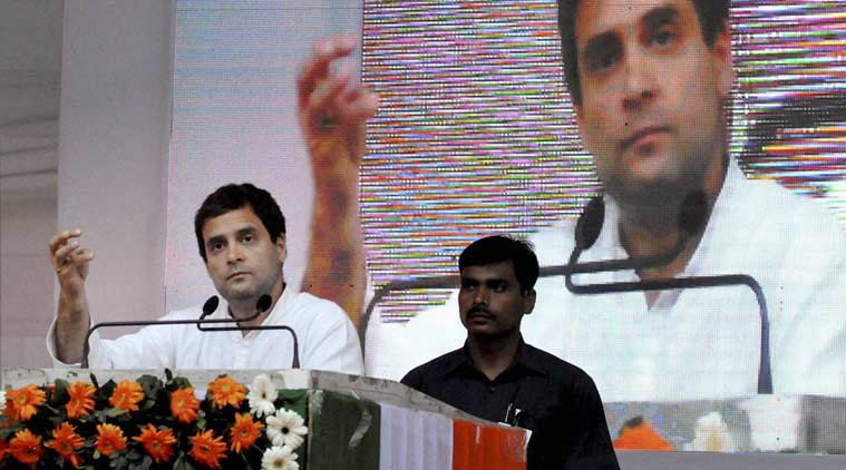 Congress Vice President Rahul Gandhi addresses an election rally at Nehrubali, in Nagaon district of Assam on Friday. (PTI Photo)