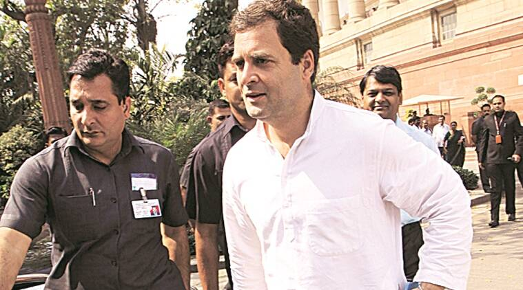 Congress V P Rahul gandhi at parliament house on Thursday in new Delhi Express photo by Prem Nath pandey