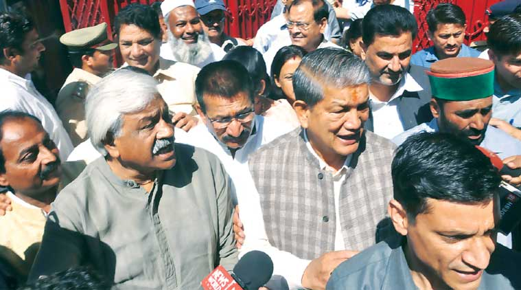 Rawat with 34 MLAs in Dehradun. (Express Photo: Virender Singh Negi)