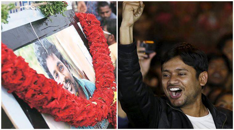 Kanhaiya's arrest in JNU came just short of a month after the Dalit student committed suicide in his room on the Hyderabad Central University campus.