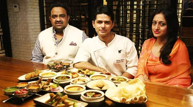 Kunwar Shivraj Singh Limdi and his cousin Kunwarani Vijaya Singh Sirmaur with royal dishes prepared by them in Chandigarh. (Photo: IANS)