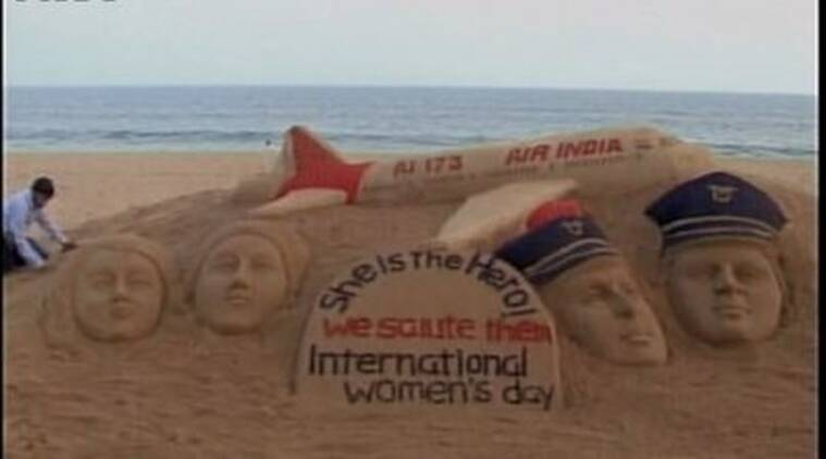 Air India, International women's day, Air India all women flight, Sand art air india, Sudarsan pattnaik, Sand art women's day