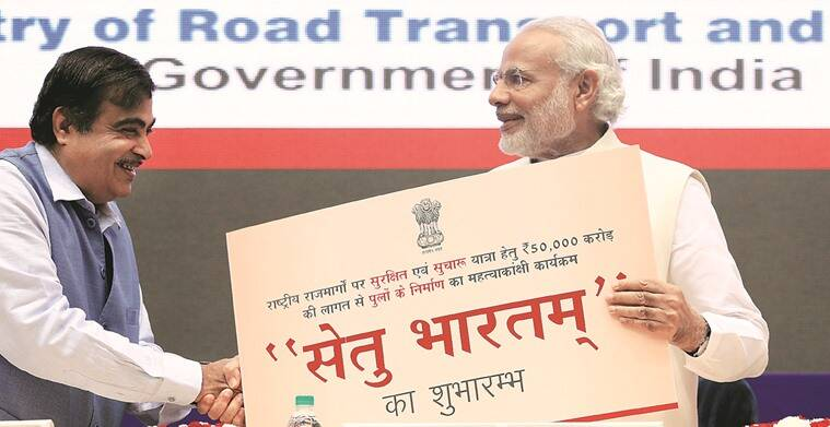Prime Minister Narendra Modi and Road Transport, Highways & Shipping Minister Nitin Gadkari in New Delhi on Friday.  Amit Mehra