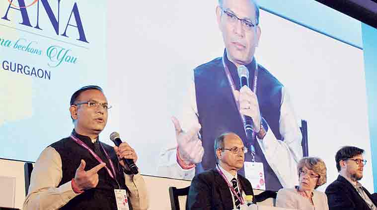 Minister of State for Finance Jayant Sinha at the Happening Haryana Global Investors Summit in Gurgaon on Tuesday.  (Source: PTI)
